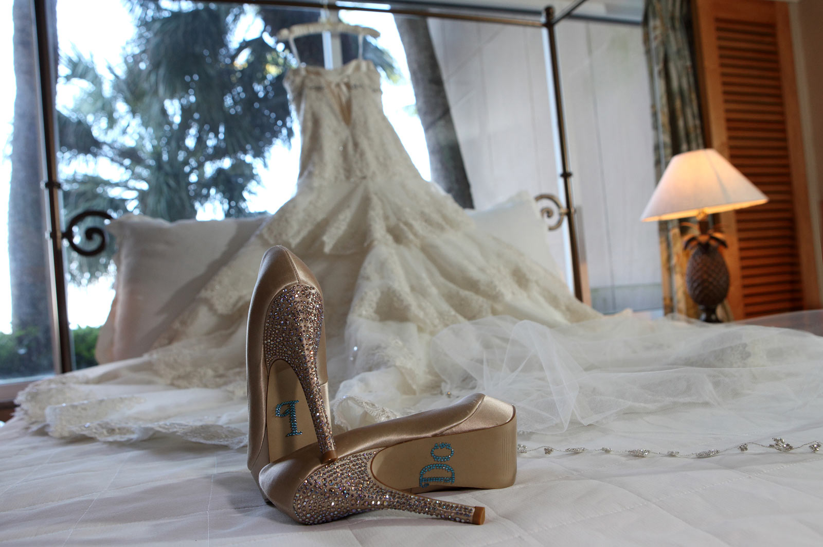 Shinny Bride Shoes and Wedding Dress