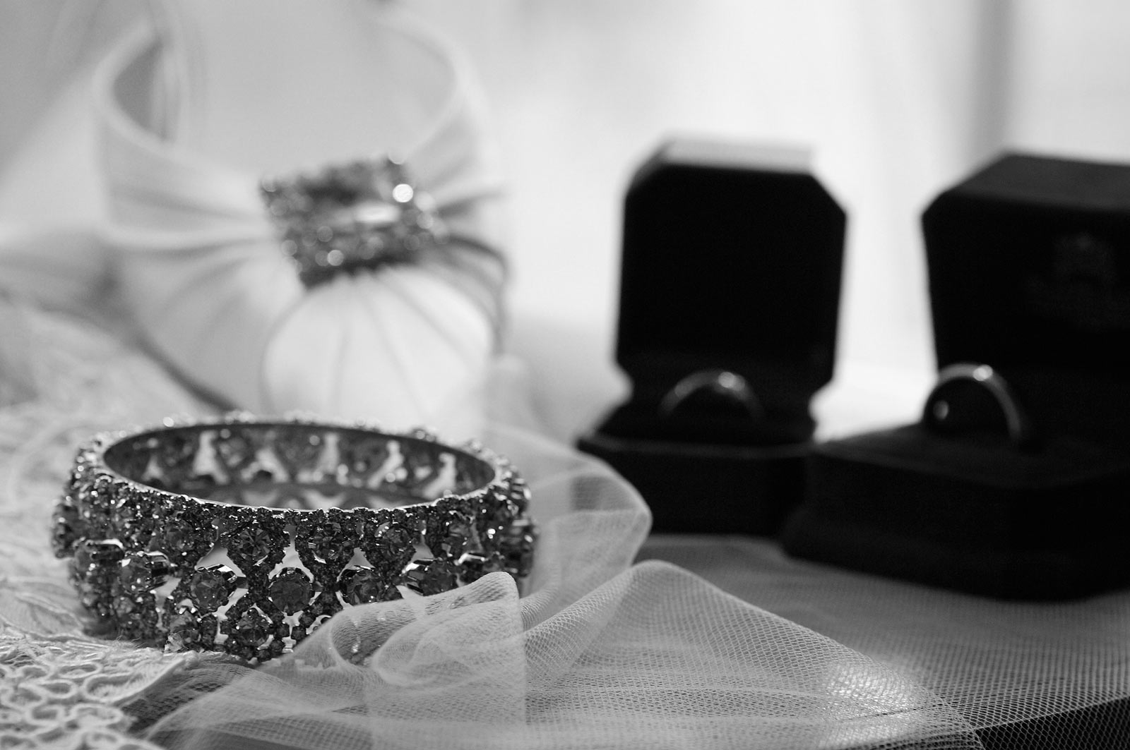 Wedding Shoes and Ring in Black and White