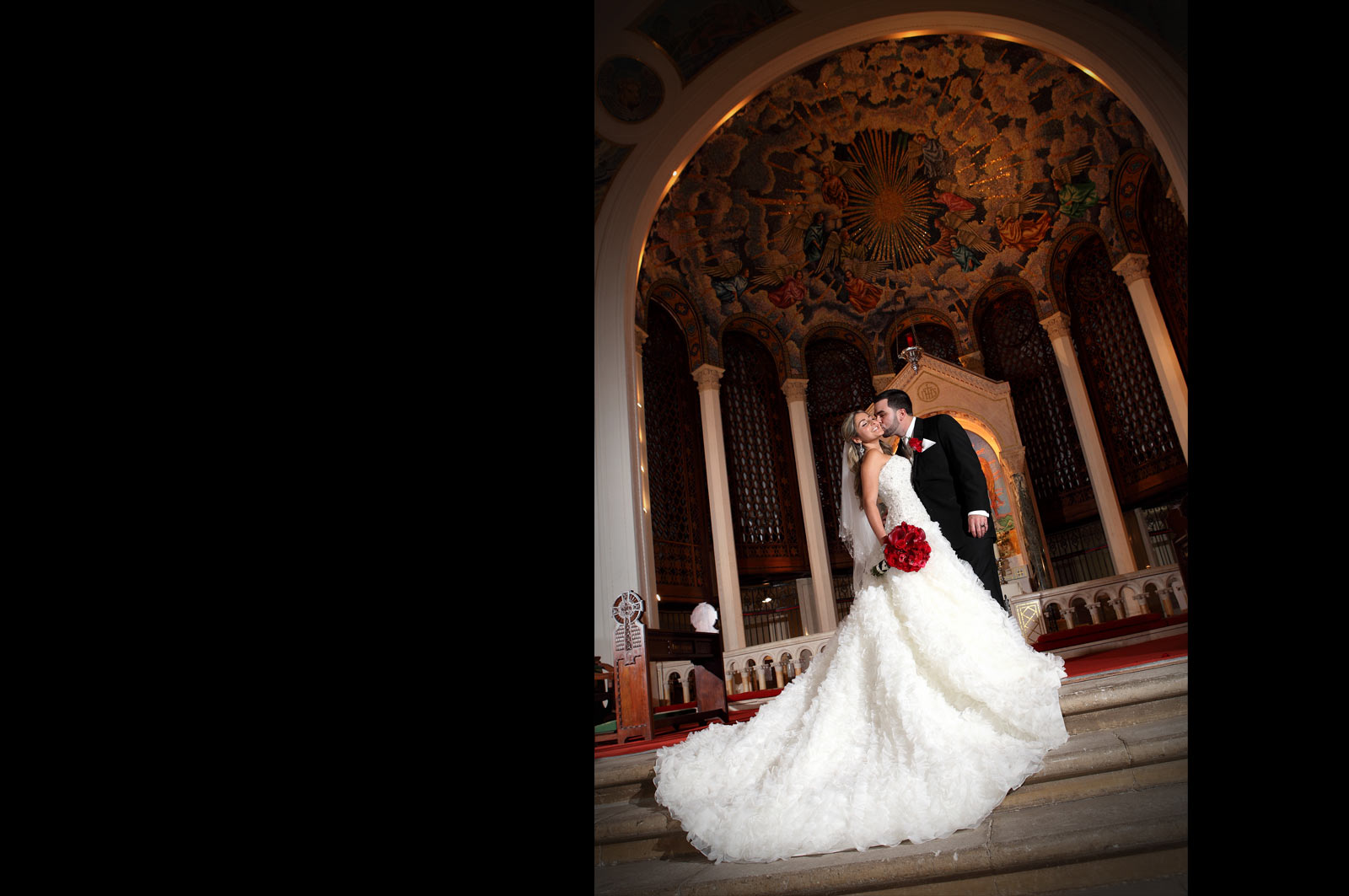 Bride and Groom inside church - Wedding Chapel