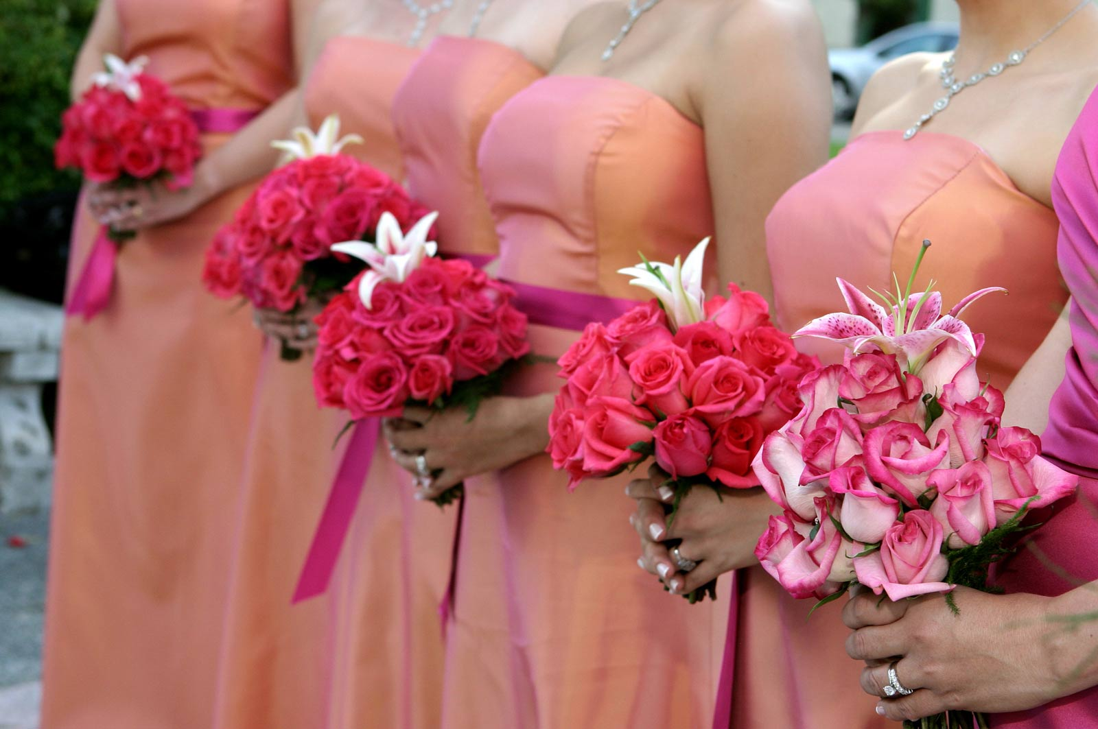 Bridesmaids in Pink with Flowers - Photo By J. Garcia