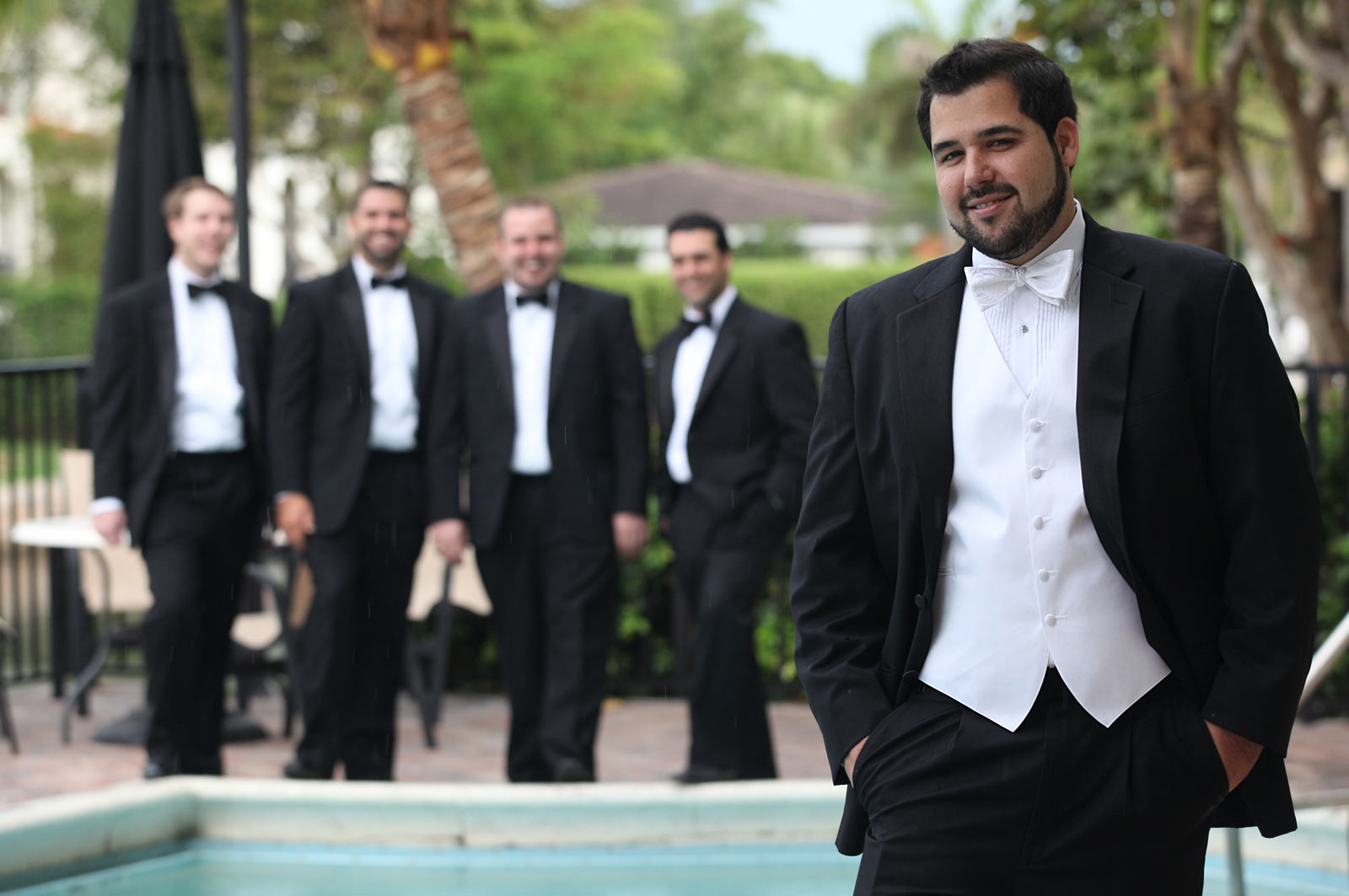 Smiling Groom with Groomsmen, Father of Bride, Koumbaro, Man of Honor, Ring Bearer, Ushers